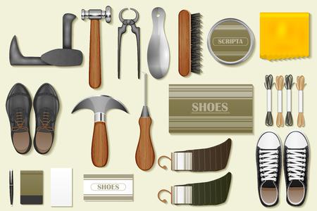 craftsmanship: easy to edit vector illustration of identity branding mockup for cobbler