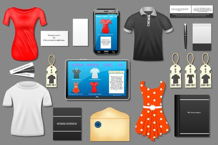 shop online: easy to edit vector illustration of identity branding mockup for online shop and e-commerce