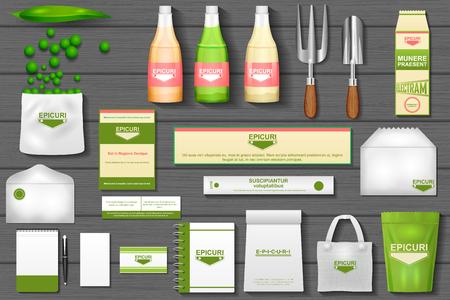 easy to edit vector illustration of identity branding mockup for eco gardening Illusztráció