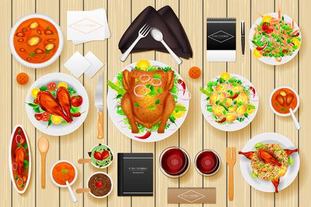wine dinner: easy to edit vector illustration of identity branding mockup for dinner table