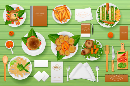 buffet dinner: easy to edit vector illustration of identity branding mockup for Hotel and Restaurant