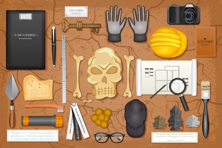 paleontological: easy to edit vector illustration of identity branding mockup for archaeology