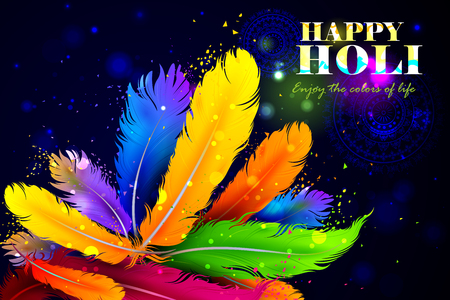 rang: easy to edit vector illustration of Holi background with colorful feather