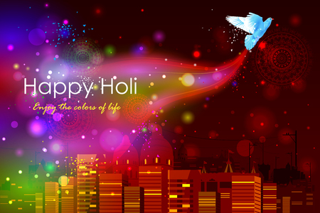 panchami: easy to edit vector illustration of colorful Holi background with flying dove Illustration
