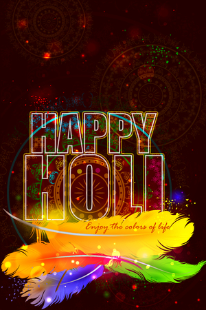 dhulandi: easy to edit vector illustration of Holi background with colorful feather