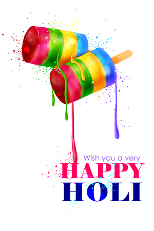 dhulandi: easy to edit vector illustration of colorful Holi background with ice cream lollies Illustration