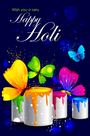 panchami: easy to edit vector illustration of colorful Holi background with butterfly Illustration
