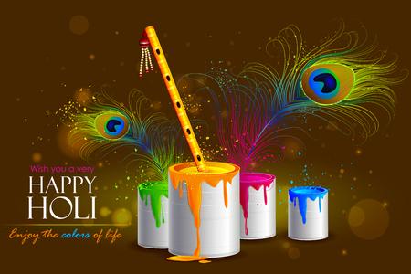 krishna: facile à modifier illustration vectorielle de fond coloré Holi avec flûte Illustration