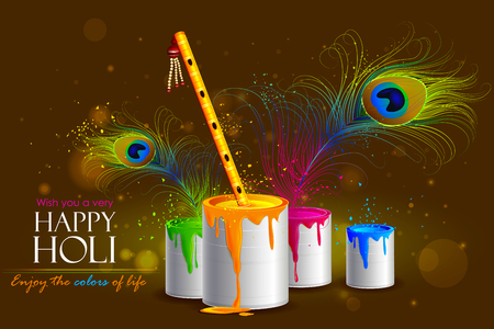 easy to edit vector illustration of colorful Holi background with flute Stock Illustratie