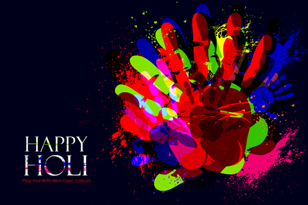 festive occasions: easy to edit vector illustration of colorful Holi background with hand print