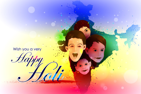 india culture: easy to edit vector illustration of colorful Holi background kids on India map