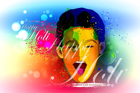 dhulandi: easy to edit vector illustration of colorful Holi background with kid Illustration