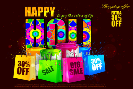 rang: easy to edit vector illustration of colorful Holi shopping sale background