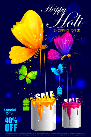 dhulandi: easy to edit vector illustration of colorful Holi shopping sale background