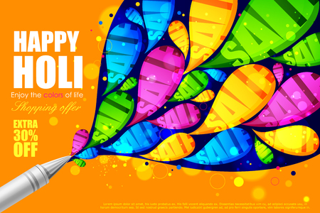 pichkari: easy to edit vector illustration of colorful Holi shopping sale background