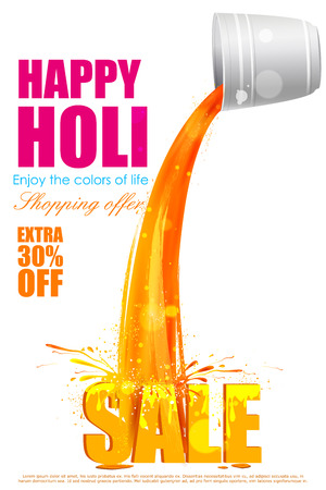 paint splash: easy to edit vector illustration of colorful Holi shopping sale background