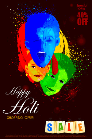 panchami: easy to edit vector illustration of colorful Holi shopping sale background