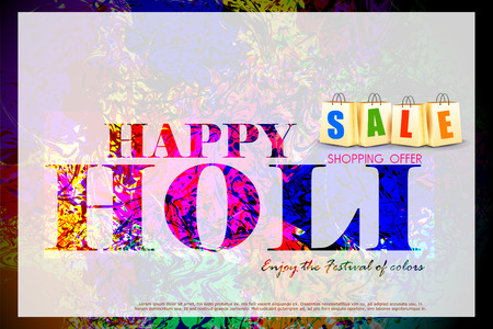 shopping bag: easy to edit vector illustration of colorful Holi shopping sale background