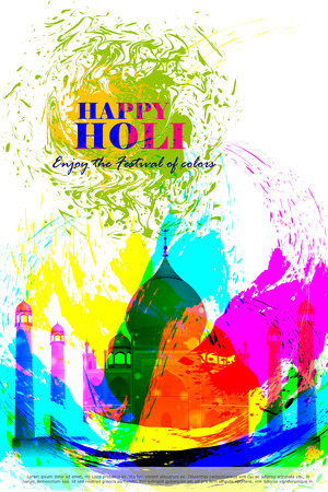 agra: easy to edit vector illustration of colorful Holi background
