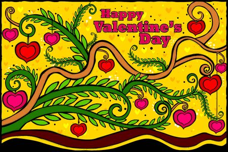 edit valentine: easy to edit vector illustration of Happy Valentines Day celebration background