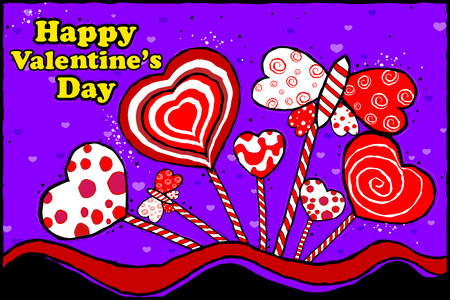 edit valentine: easy to edit illustration of Happy Valentines Day celebration background Illustration