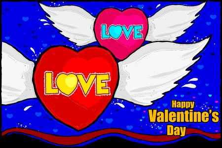 edit valentine: easy to edit illustration of Happy Valentines Day celebration background Illustration