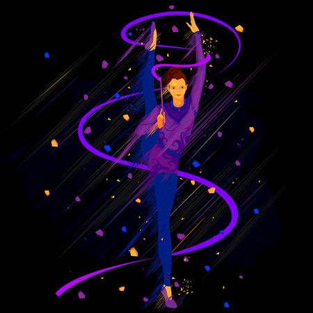 Ilustración de la mujer con la cinta de la gimnasia rítmica