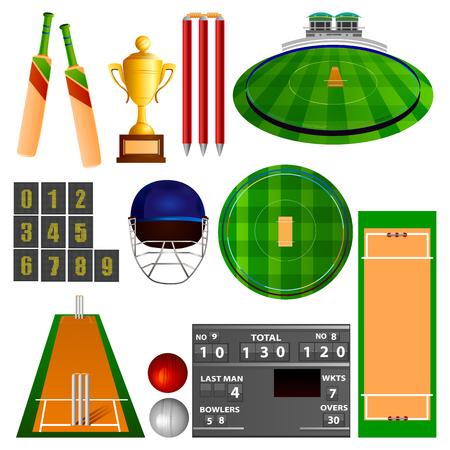 board game: illustration of Cricket equipment
