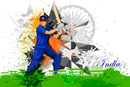 bate: ilustración de jugador de cricket de la India