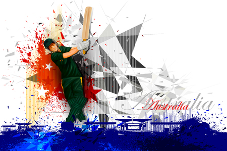 batsman: illustration of cricket player from Australia