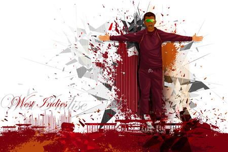 cerillos: ilustración de jugador de cricket de las Indias Occidentales