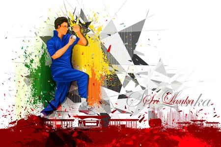 cricketer: illustration of cricket player from Sri Lanka