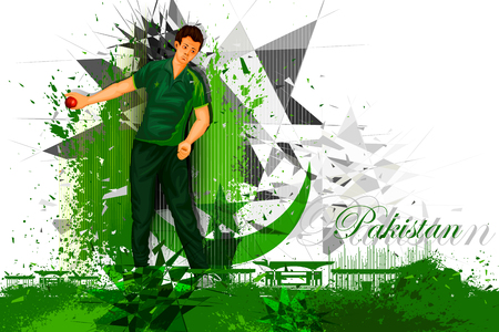 competitive sport: illustration of cricket player from Pakistan