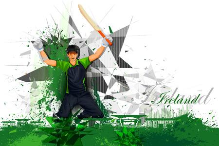 cricket stump: illustration of cricket player from Ireland