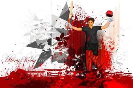 cricketer: illustration of cricket player from Hong Kong