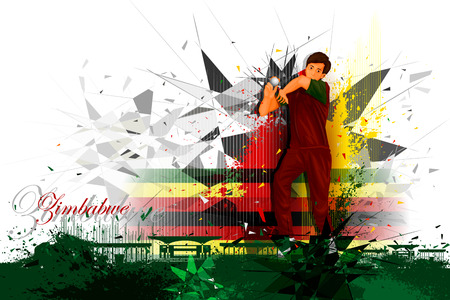 competitive sport: illustration of cricket player from Zimbabwe