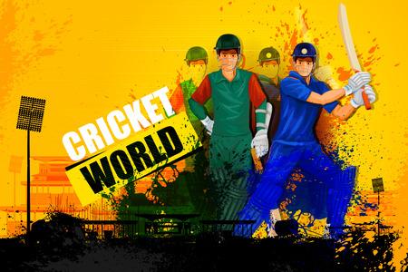 illustratie van de speler in abstracte Cricket Championship achtergrond