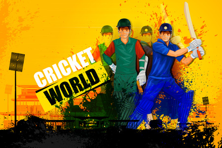 one team: illustration of player in abstract Cricket Championship background