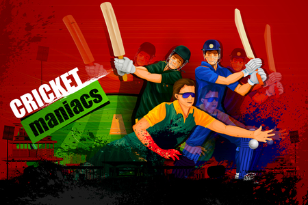 cricket: illustration of player in abstract Cricket Championship background