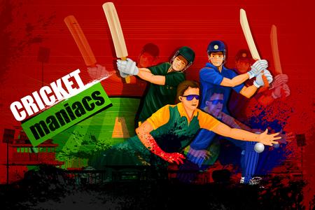 bate: ilustración de jugador en segundo plano abstracto Campeonato de Cricket
