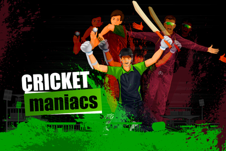 cricket field: illustration of player in abstract Cricket Championship background