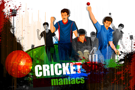 wicket: illustration of player in abstract Cricket Championship background