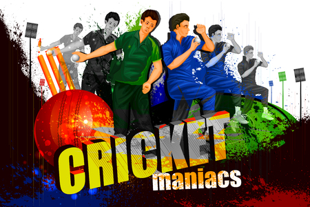 world player: illustration of player in abstract Cricket Championship background
