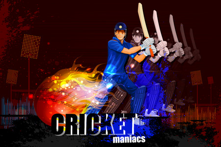 cricket stump: illustration of player in abstract Cricket Championship background