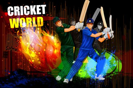streichholz: Illustration der Spieler in der abstrakten Cricket-Meisterschaft Hintergrund Illustration