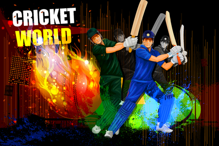 match: illustration of player in abstract Cricket Championship background