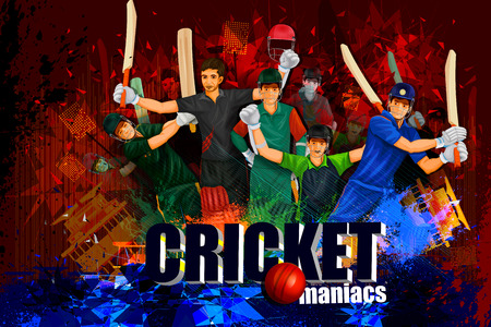 cricket game: illustration of player in abstract Cricket Championship background