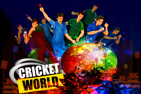 championship: illustration of player in abstract Cricket Championship background