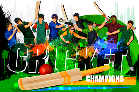 cricketer: illustration of player in abstract Cricket Championship background