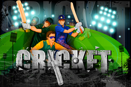 speed test: illustration of player in abstract Cricket Championship background